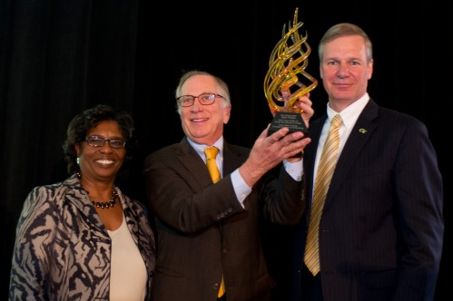 "The Honorable Sam Nunn (c) with Georgia Tech Ivan Allen College of Liberal Arts Dean Jacqueline J. Royster and Georgia Tech President G. P. ""Bud"" Peterson"